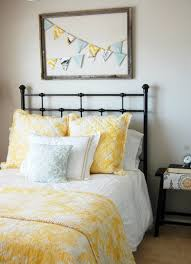 Small Guest Bedroom Interior Chic Small Guest Room Interior With Yellow Damask