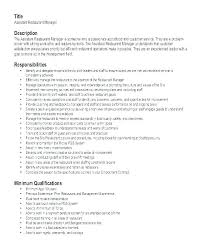 Restaurant Resume Template Assistant Manager Resume Assistant Manager Resume Retail Jobs Job