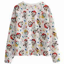 Disney Áo Nỉ Hình Chuột Mickey Dễ Thương Vịt Donald Goofy Santa Nón Giáng  Sinh Hoạt Hình In Cổ Tròn Dài Tay Nữ Bông Tai Kẹp Áo|Áo Trùm Đầu & Áo Nỉ