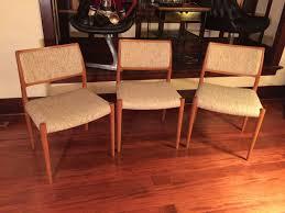 sold danish modern teak moeller dining chairs set of 3