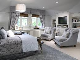 Master Bedroom Gray Bedroom Brown Chandeliers Brown Wooden Floor White Matresses