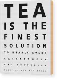 Tea Is The Finest Solution Poster Tea Quotes Typography Cafe Decor Eye Chart Black White Wood Print