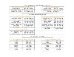 Schedule Calender Early Light Academy Calendars Schedules