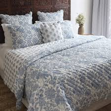 india hand stitched cotton block print quilt and 2 shams set ay toile