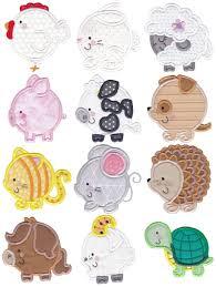 Animal Applique Designs Round Animals Applique Is A Cute Easy Applique Collection Of