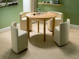 space saving furniture dining table. The Next Design Would Be Perfect For A Minimalistic Kitchen. It Is Round Dining Table, Which Also Extensible And Comes With 4 Stylish, White Seats. Space Saving Furniture Table GoodsHomeDesign
