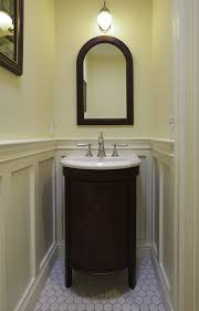 san francisco shaker wainscoting with transitional bathroom sink faucets powder room craftsman and dark wood framed