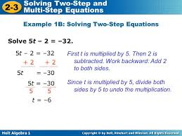 example 1b solving two step equations
