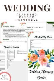 Printable Wedding Planner Wedding Planning Binder Printable Pink Floral Green Eyed Girl Productions