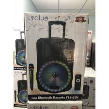 Combo Loa Bluetooth Karaoke i.value F12-65N Nhựa đen + Mic không dây - Loa  Bluetooth
