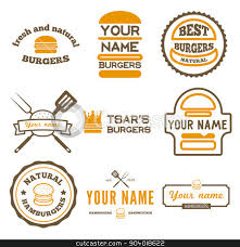 Restaurant Name And Logo Set Of Logo Labels Stickers And Logotype Elements For Fast Food