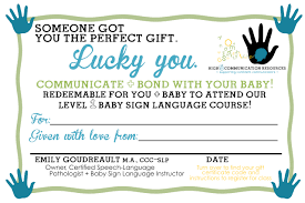 Gift Certificate Sign Gift Certificate For Baby Sign Language Class