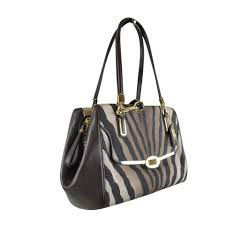Coach Madison Small Madeline East West In Zebra Print Black  White ...