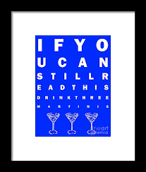 Eye Exam Chart If You Can Read This Drink Three Martinis Blue Framed Print