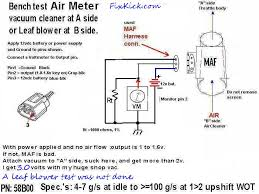 how to test the induction air meter in mech terms the above the out put will vary from about 1v to 4vdc as you drive fast wideopen throttle up hill at the 1>2 shift is max air flow