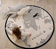 caveen 53 inchesworld map kids rug foldable black and white round rug child game mats diameter