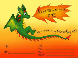 cute dragon first birthday party invitations template