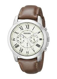 fossil men s fs4735 grant stainess steel watch brown leather fossil men s fs4735 grant stainess steel watch brown leather band fossil amazon co uk watches
