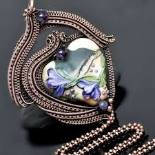 wire wrap pendant wire wrap necklace copper jewelry lampwork heart bead