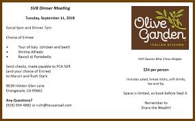 monthly dinner olive garden