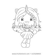Cute Baby Unicorn Coloring Page Girls Stock Vector Royalty Free