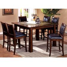 contemporary dining room design with 5 pieces metal high top table set black curved saddle