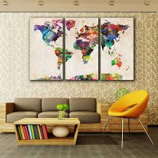 list for canvas prints canvas art painting for home decor colorful map 3pcs