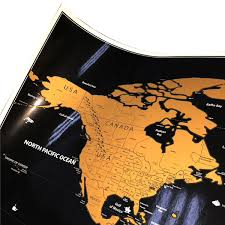 Scratch-Off <b>World Map Poster</b> (<b>Black</b> and Gold) // Manly Man Co®