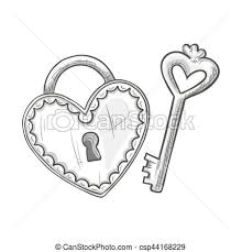 lock and key drawing. Fine And Sketch Heart Shape Lock And Key  Csp44168229 In Lock And Key Drawing K