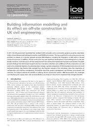Loughborough University Architectural Engineering And Design Management Building Information Modelling And Its Effect On Off Site