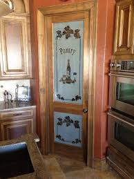 decorative kitchen frosted glass pantry door with white painted etched