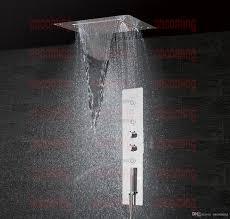 Großhandel Badezimmer Dusche Set Zubehör Wasserhahn Panel Tap Thermostat Mischer Led Decken Duschkopf Regenfall Wasserfall Dusche Jets Gf5326 Von