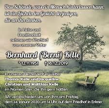 Traueranzeigen von Bernhard Kelle | Märkische Onlinezeitung ...