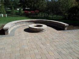 patio pavers with fire pit. Here\u0027s A Paver Patio Fire Pit With Large Curved Bench Wall Around It. Pavers V