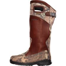 lacrosse men s 17 brown leather and realtree camo cordura pull on snake boots 425620