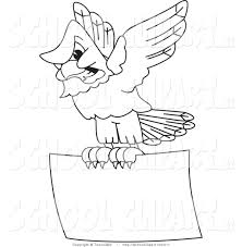 Clip Art of a Coloring Page of a Bald Eagle Hawk or Falcon Flying ...