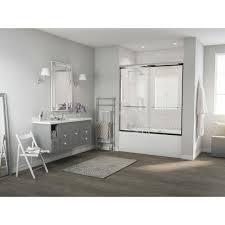 semi framed sliding tub door with radius curved towel bar in chrome and clear glass