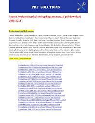toyota avalon electrical wiring diagram manual pdf 1995 2013