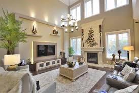 high ceiling decoration for living room with large wall