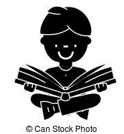 boy reading book open book sitting icon vector ilration sign on isolated