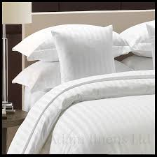adam linens luxury 5 star hotel quality white 100 cotton 300 thread count satin stripe duvet cover pillowcase single double king size double by