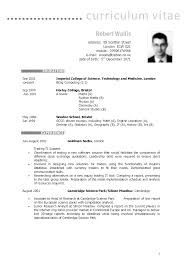 Cv Resume Example Uk Example Resume Template Uk Curriculum Vitae