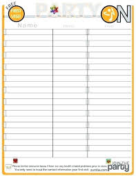 Printable Sign Up Sheet Template Free Halloween Volunteer Sign Up Sheet