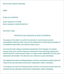 Termination Of Employment Letter Template Letter Of Termination Of Employment Template 6 Free Word Pdf