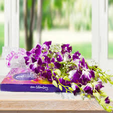 send orchids with chocolate box same day flowers delivery gift my emotions