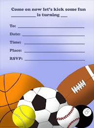 various sport ball themed birthday invitation card design for boys others printable sport themed birthday invitation card for boys sports white background color