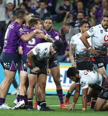 cameron munster of the storm celebrates a try during the round 7 nrl match between the