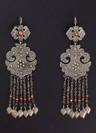 china uygur autonomous region of xinjiang or central asia pair of earrings silver