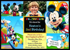 Mickey Mouse Clubhouse 2nd Birthday Invitations Mickey Mouse Po Birthday Invitations Birthday Party