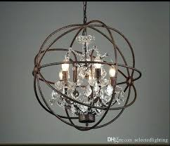 iron orb chandelier large industrial lighting restoration hardware vintage crystal pendant lamp black wrought